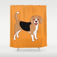 beagle Shower Curtains featuring Beagle Dog by TinyBee