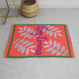 MERRY CHRISTMAS WITH WHITE LEAVES Greeting Illustration Rug