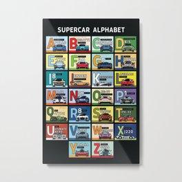 Supercar Alphabet Metal Print