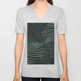 Dark Palm Leaves Unisex V-Neck