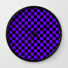 Black and Indigo Violet Checkerboard Wall Clock