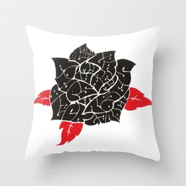 Black Roses in my garden Throw Pillow