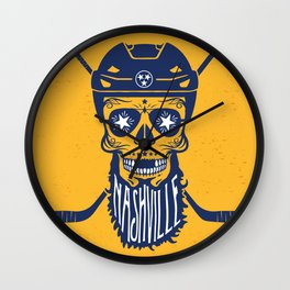 Nashville Bearded Hockey Sugar Skull Wall Clock