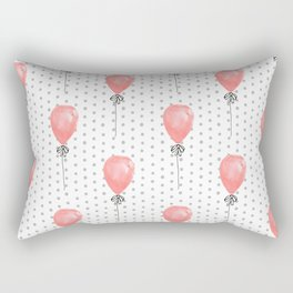 Balloons red balloon polka dots pattern watercolor valentines painted art Rectangular Pillow