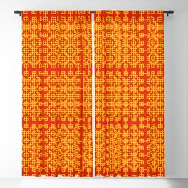 Chinese grid pattern in traditional colors Blackout Curtain