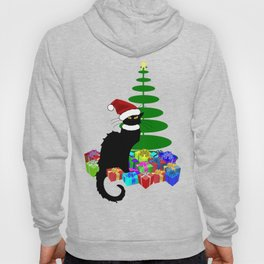 Christmas Le Chat Noir With Santa Hat Hoody