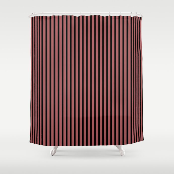 Dusty Cedar and Black Stripes Shower Curtain