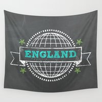 england Wall Tapestries featuring England by My Little Thought Bubbles