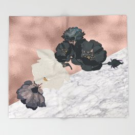Floral marble rose gold Throw Blanket
