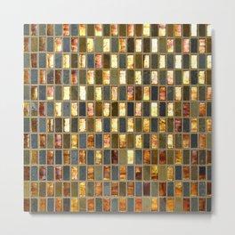 Black Gold Copper Tile Metal Print