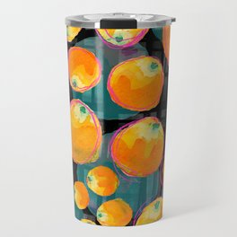 Oranges on Black Travel Mug