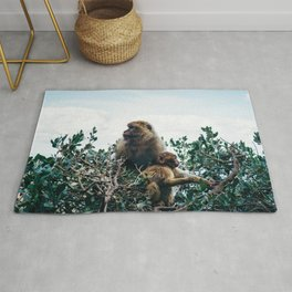 Macaque Mother and Daughter Rug