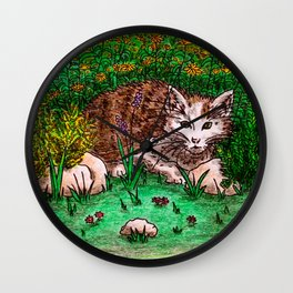 Cat in Flower Garden Wall Clock