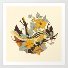 Chipmunk & Morning Glory Art Print