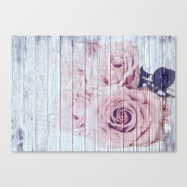 Shabby Chic Dusky Pink Roses On Blue Wood Background Canvas Print