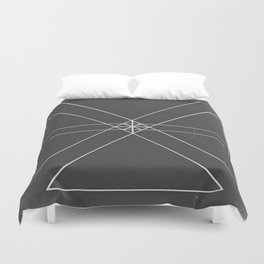 Gray Lines and Crossings Duvet Cover