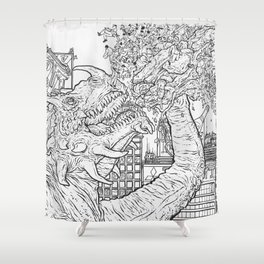 Giant Monster Attack Shower Curtain