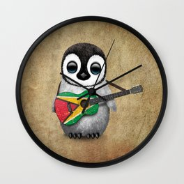 Baby Penguin Playing Guyanese Flag Acoustic Guitar Wall Clock