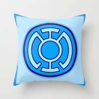 green lantern Throw Pillows featuring Green Lantern: Blue Lantern by The Barefoot Hatter