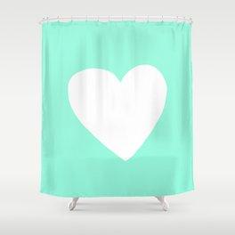 Mint Heart Shower Curtain
