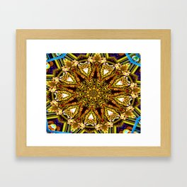 Lovely Healing Mandalas in Brilliant Colors: Gold, red, blue, black, light blue Framed Art Print