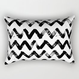 Big painted waves - black and white pattern love Rectangular Pillow