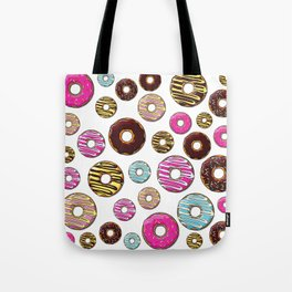 Donut Pattern, Colorful Donuts - Pink Blue Yellow Tote Bag