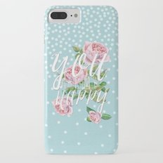 You are my happy- Roses Rose Flowers Polkadots - Vintage Design #Society6 Slim Case iPhone 7 Plus