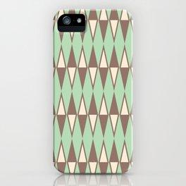 Mid Century Modern Diamond Pattern Brown Green 231 iPhone Case
