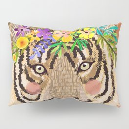 Tiger with Floral Crown Art Print, Funny Decoration Gift, Cute Room Decor Pillow Sham