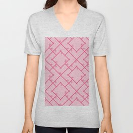 Bamboo Chinoiserie Lattice in Pink + Bubblegum Pink Unisex V-Neck