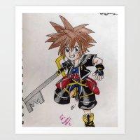 kingdom hearts Art Prints featuring Kingdom Hearts by Juui-Chan