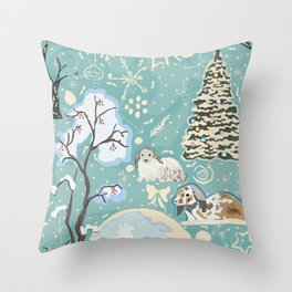 Bunny Winter Walk in Woods Throw Pillow