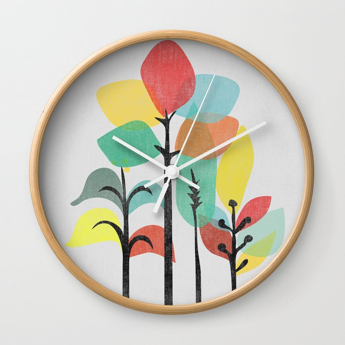 Tropical Groove (gray) Wall Clock