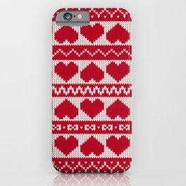 Fair Isle Valentines Day - Red iPhone Case