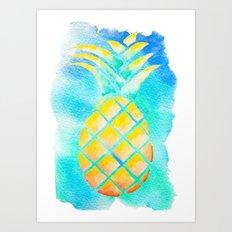 Tropical Hawaiian Pineapple Watercolor Art Print