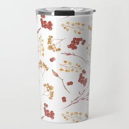 Hand painted burgundy orange yellow watercolor berries leaves Travel Mug