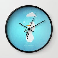 olaf Wall Clocks featuring Olaf (Frozen) by Robert Woods