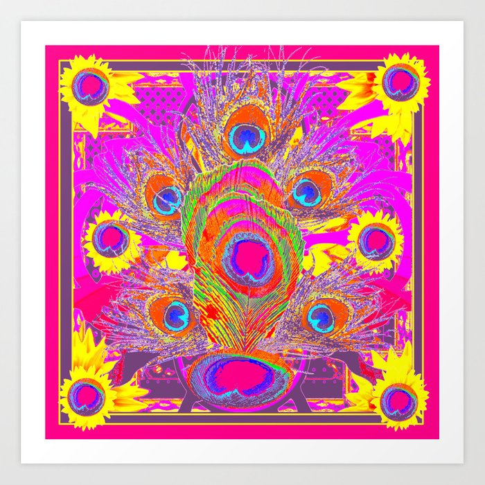 a16cb832e637 Peacock Inspired Decorative Pattern Yellow Fuchsia Pink Art Art Print by  sharlesart