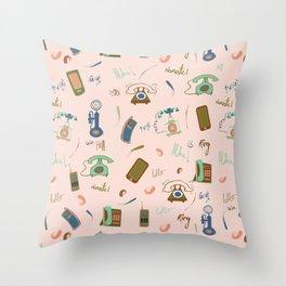 Retro Phones in pink Throw Pillow