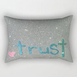 Trust Glitter Card Rectangular Pillow