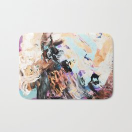 Bright multi-colored painting, contemporary art.  acrylic paint, abstract texture hand drawn gradien Bath Mat