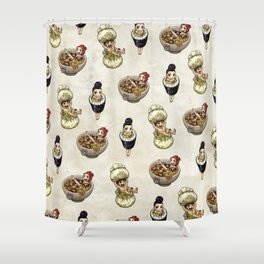 FOOD FAERIES- udon, sushi, and dimsum Shower Curtain