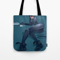 catwoman Tote Bags featuring CATWOMAN by orlando arocena ~ olo409- Mexifunk