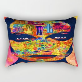 'BE STILL' mixed media collage pop art Rectangular Pillow