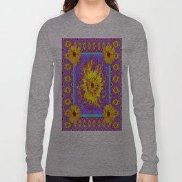 Lilac Purple & Yellow Sunflowers Abstract Garden Design Long Sleeve T-shirt