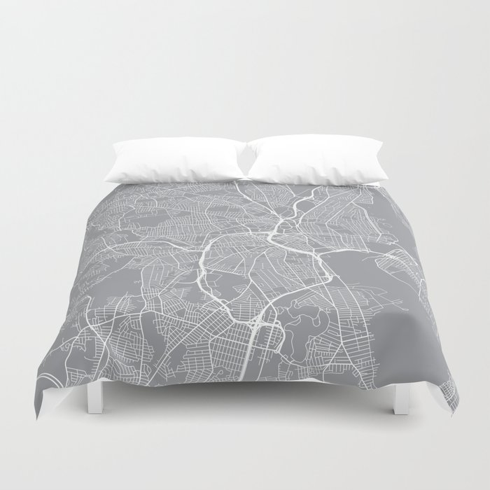 Providence Map, Rhode Island USA - Pewter Duvet Cover by ...