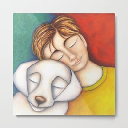 A Boy And His Dog Original Art Portrait Metal Print