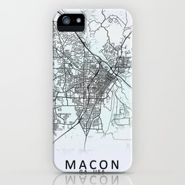 Macon GA USA White City Map iPhone Case