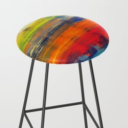Horizon Blue Orange Red Abstract Art Bar Stool